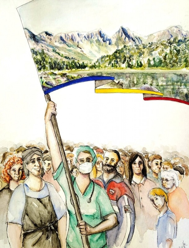 Original del cartell de la subhasta, amb els ciutadans en eu de guerra contra la Covid-19 i el llac de Pessons al fons (aquarel·la, grafit i tinta, 19 x 24 centímetres).