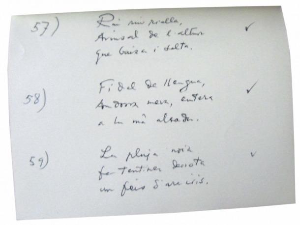 Manuscrit dels 'Haikus d'Arinsal' bartrians que es conserven al fons Morell.