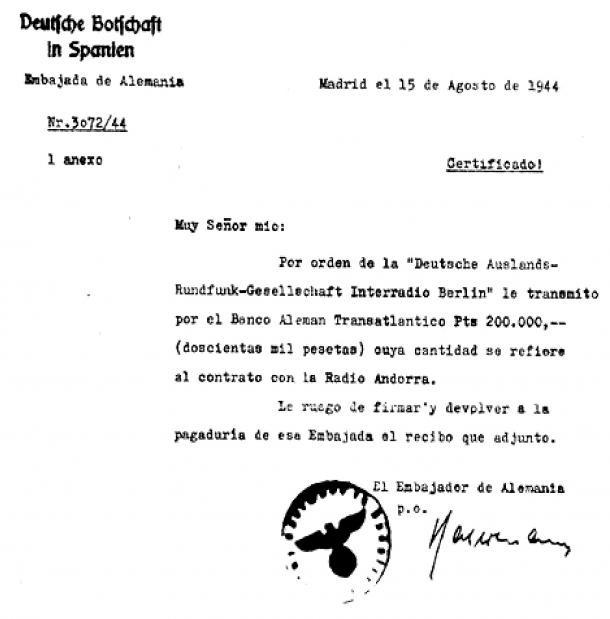 El document datat l'agost del 1944 Printz i publicat el 1953 per Louis Noguères que certifica suposadament el pagament de 200.000 pessetes per part dels nazis a Trémoulet.