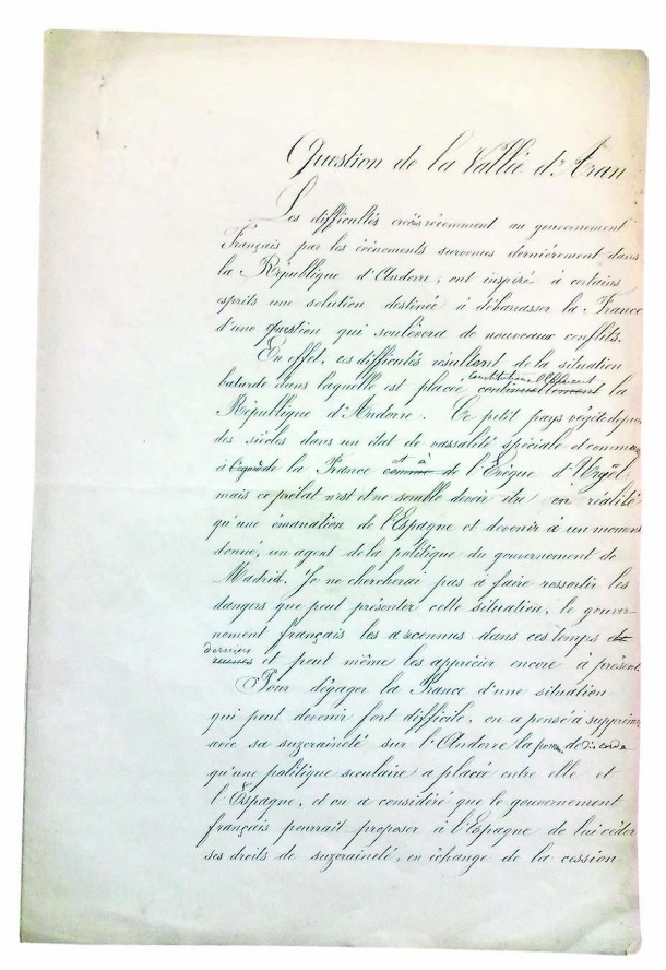 Primera de les vuit pàgines del document, titulat 'Question de la Vallée d'Aran' i firmat per Ch. Blanchard, 'chef d'escadron d'état major'; no està datat.