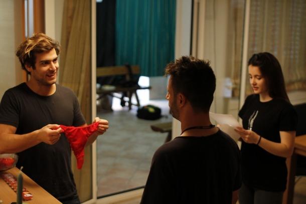 Caminal, amb els dos protagonistes del curt, que es va estrenar divendres a la plataforma No Todo Cine Fest