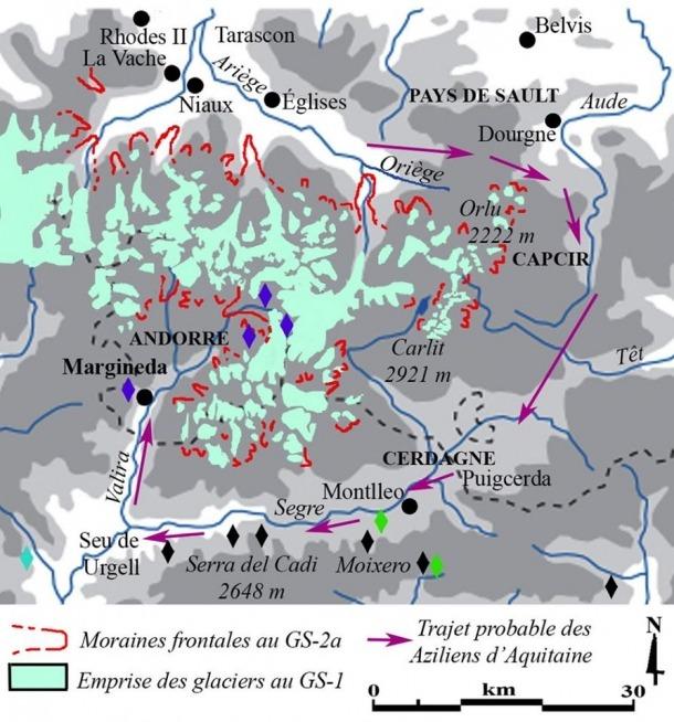 Mapa de les glaceres al Pirineu, fa cap a 14.000 anys, amb la ruta possible que van seguir els pobladors que es van establir a la Balma de la Margineda.