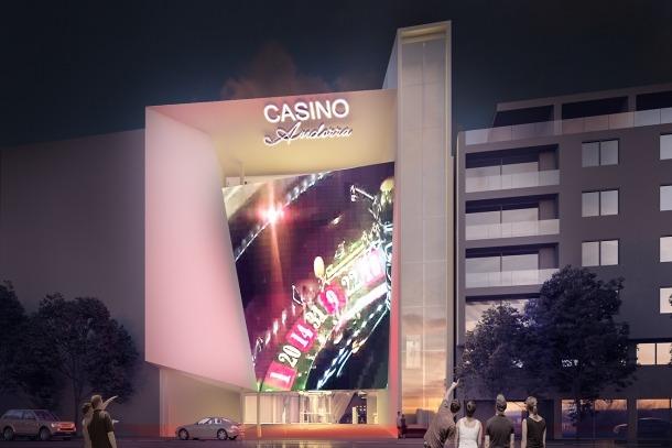 Fotomuntatge de la façana de l'edifici que proposa Jocs SA, la guanyadora del concurs, per acollir el casino al carrer Prat de la Creu d'Andorra la Vella