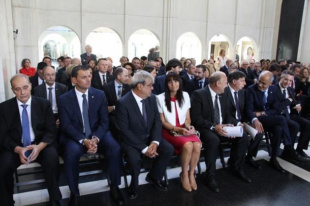 Pintat, Gallardo, Baró, Bonell, Mandicó, Casadevall, Martí i Mateu, a primera fila, ahir al santuari de Meritxell.