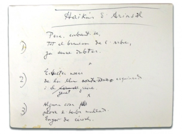 Andorra, Morell, biblioteca, Bartra, Espriu, Haikus, Estances de Lòria, Set lletanies de mort, Borís I, la Massana