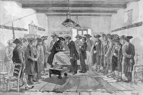 Sessió del consell provisional, tal com el va retratar l'il·lustrador suís Louis Dunki al número de març del 1881 de la revista 'L'Illustration'.