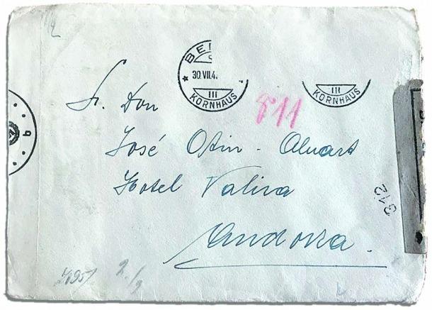 Vers de la carta escrita el 22 de juliol del 1943 per Juaniata l seu pare, José, refugia a l'hotel Valira.