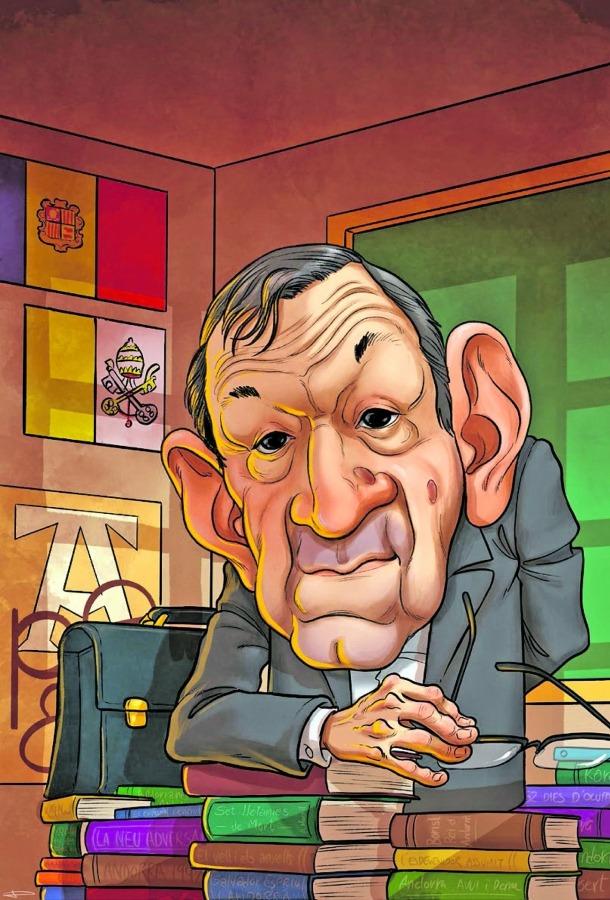 Caricatura de Morell que firma Planellas i que il·lustra l'article de Basart i Casanovas.
