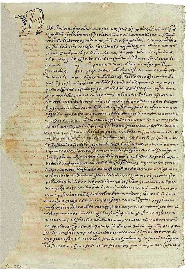 Primera pàgina de l'escriptura, firmada pel bisbe Andreu Capella el 13 de febrer del 1604.