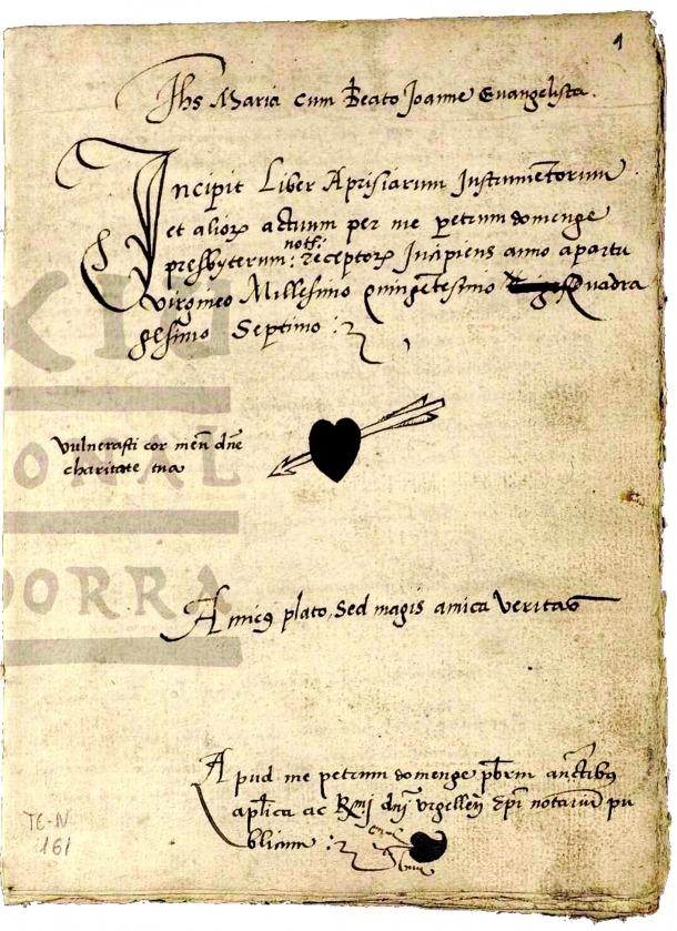Andorra, patrimoni, Arxiu Nacional, Arxiu en Línia, Tribunal de Corts, protocols, notari, Pere Domenge, Ramon Capdevila