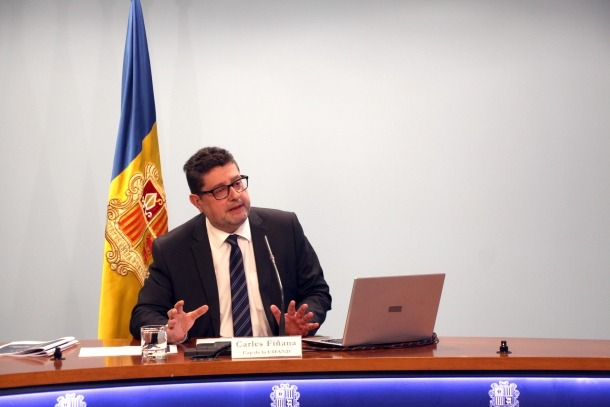 El cap de la Unitat d'Intel·ligència Financera d'Andorra, Carles Fiñana, presenta la memòria del 2018.