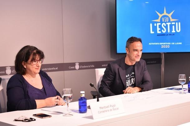 La consellera de Social i el conseller d'Esports i Joventut del comú d'Andorra la Vella, Meritxell Pujol i Alain Cabanes.