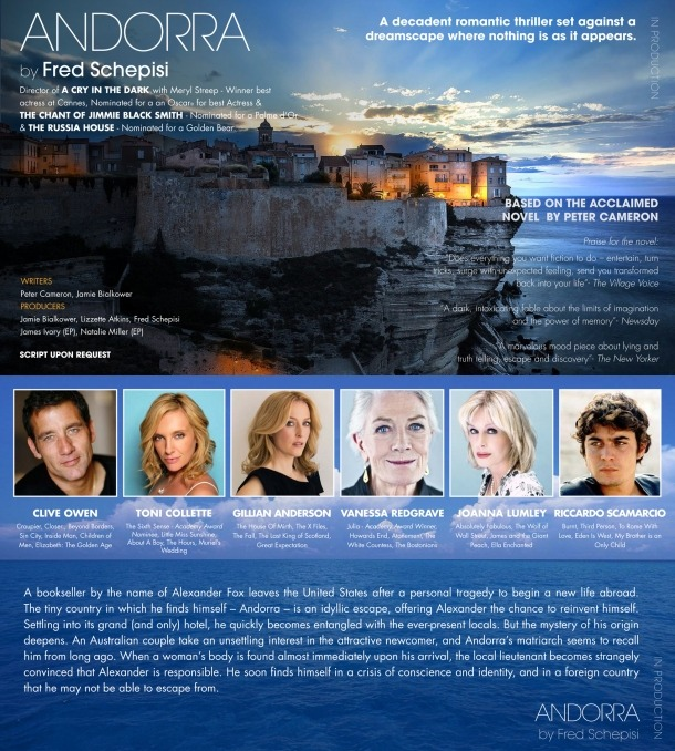 Andorra, Peter Cameron, Schepisi, Toni Collette, Clive Owen, Vanessa Redgrave, Gillian Anderson, James Ivory