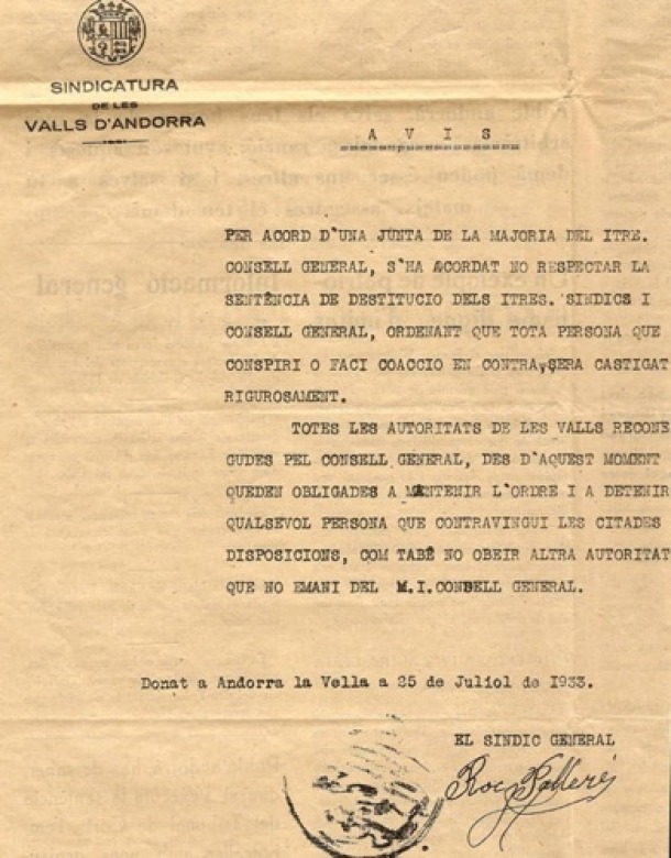 Andorra fa 85 anys