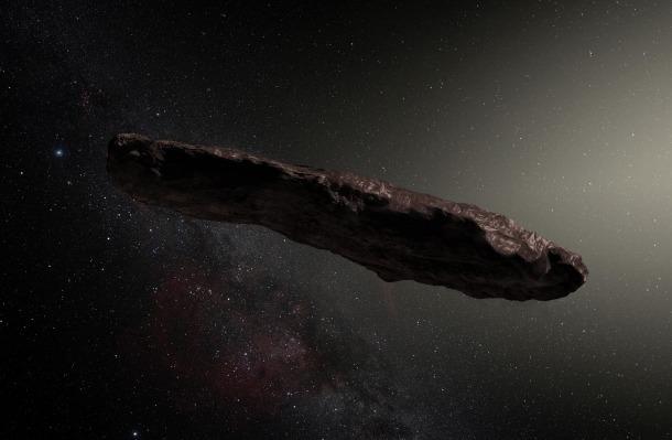 Recreació artística de l'objecte celeste, detectat l'octubre del 2017 i que ha donat peu a hipòtesis pintoresques.