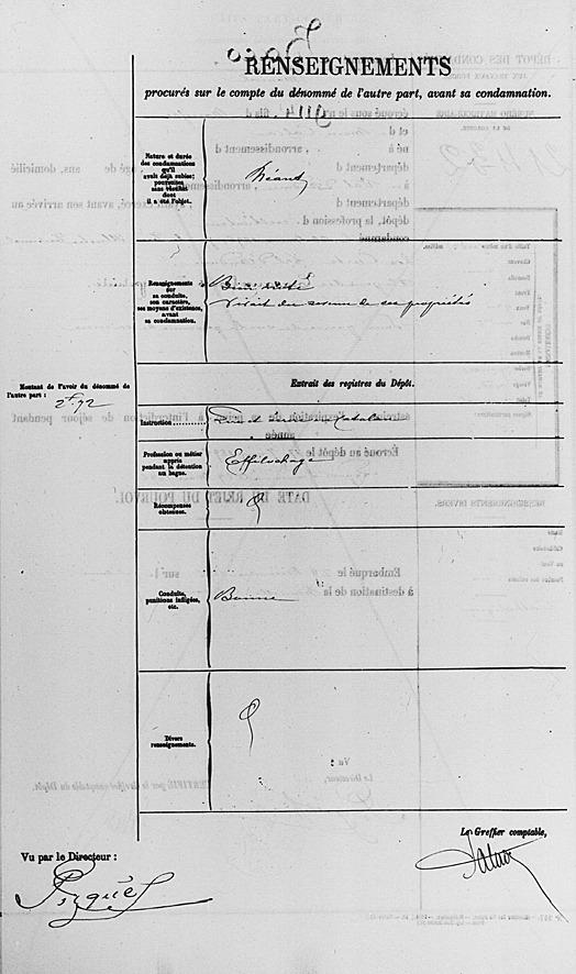 Segona pàgina de l'expedient penitenciari de Baco.
