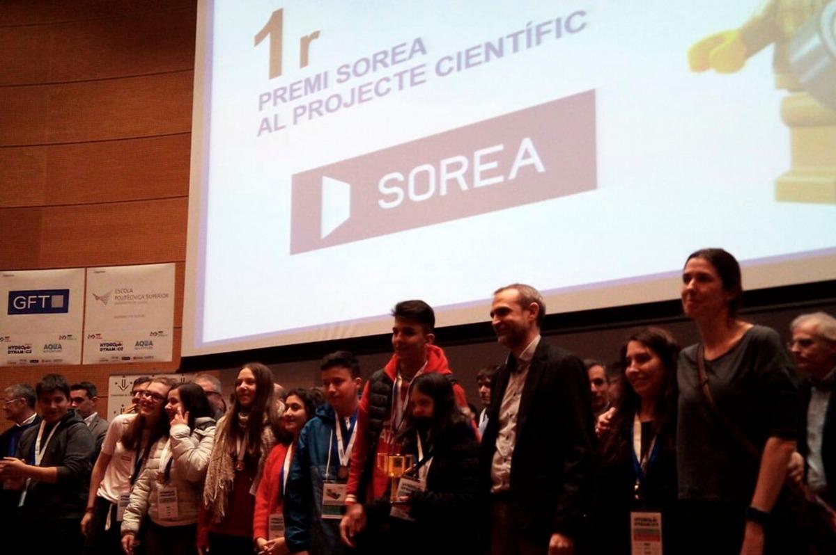 Els alumnes de l'escola andorrana de Santa Coloma, que van quedar primers a la final catalana en projecte científic i valors.