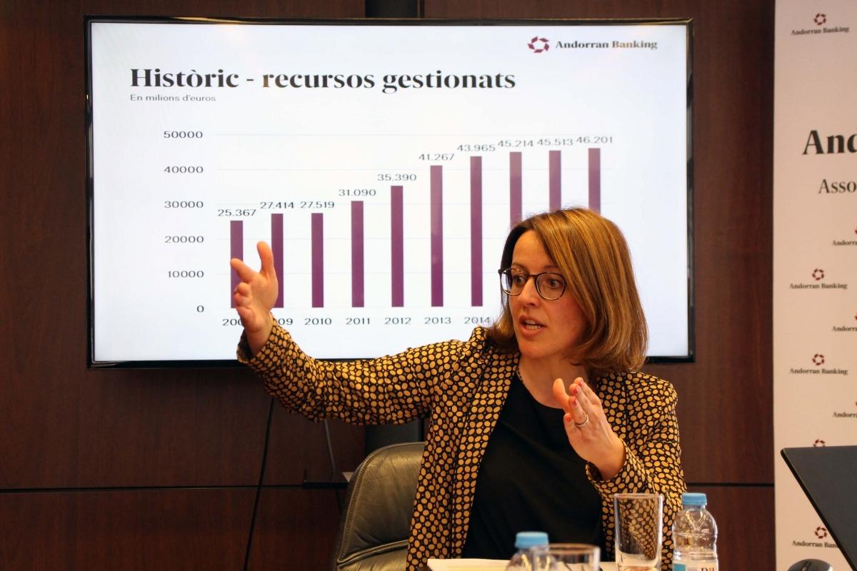 La directora general d'Andorran Banking, Esther Puigcercós, va presentar ahir els resultats de l'exercici 2017 del sector.