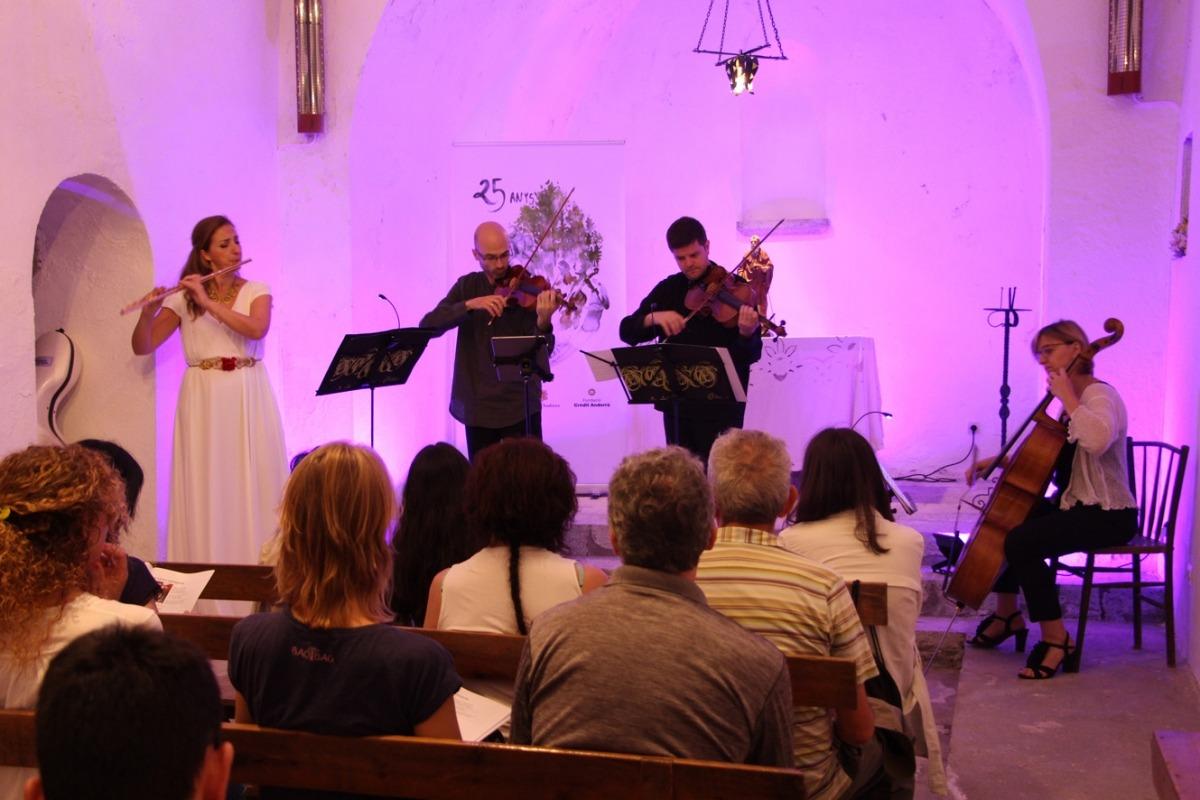 Un moment del concert del quartet Krommer a l'església de Sant Antoni de la Grella.