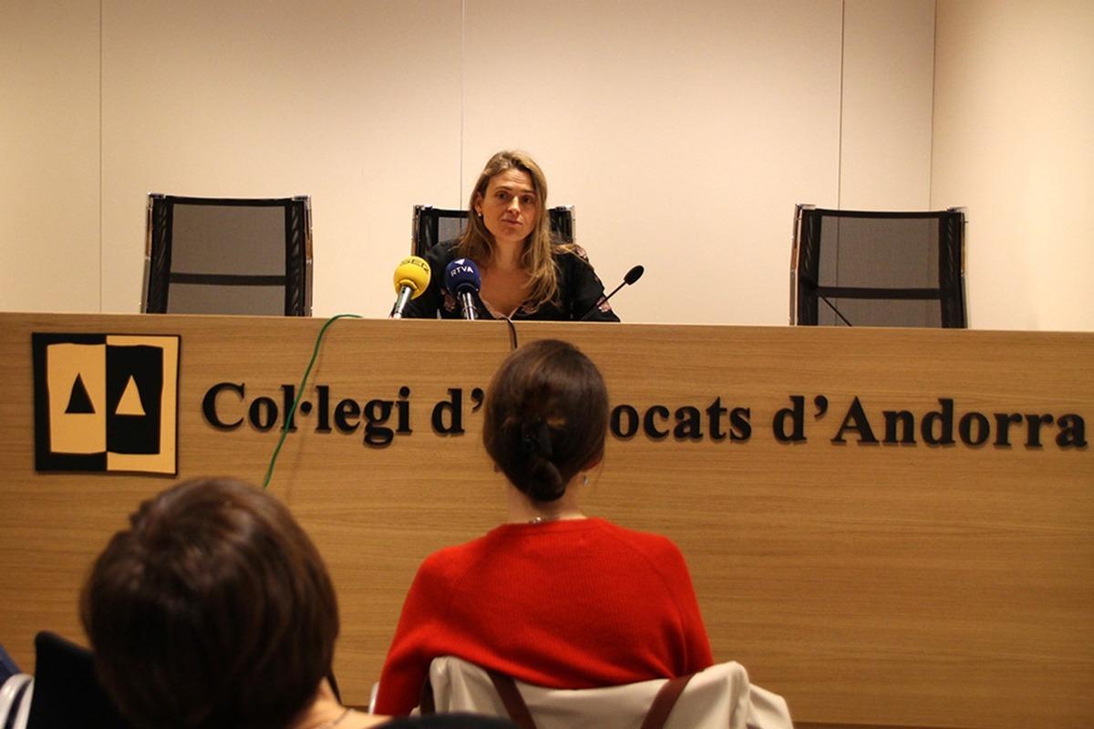 La degana del Col·legi d'Advocats, Sophie Bellocq, en una compareixença.