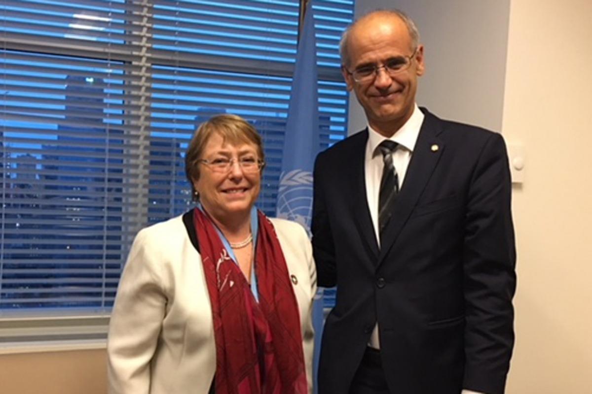 Antoni Martí amb l'alta comissionada de les Nacions Unides pels Drets Humans, Michelle Bachelet.