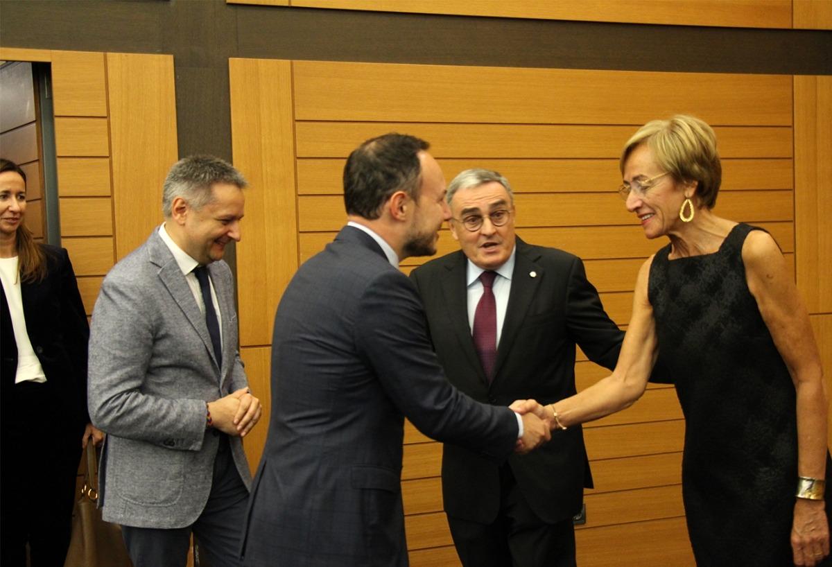 El ministre d'Afers Socials, Justícia i Interior, Xavier Espot, durant la recepció abans d'iniciar-se la celebració de la festa nacional d'Espanya.