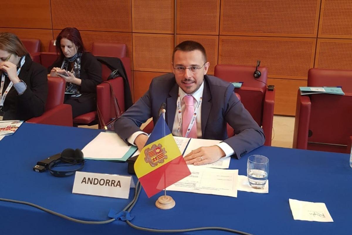 Joan León durant la seva participació en la reunió d'alt nivell dels petits països de l'OMS.