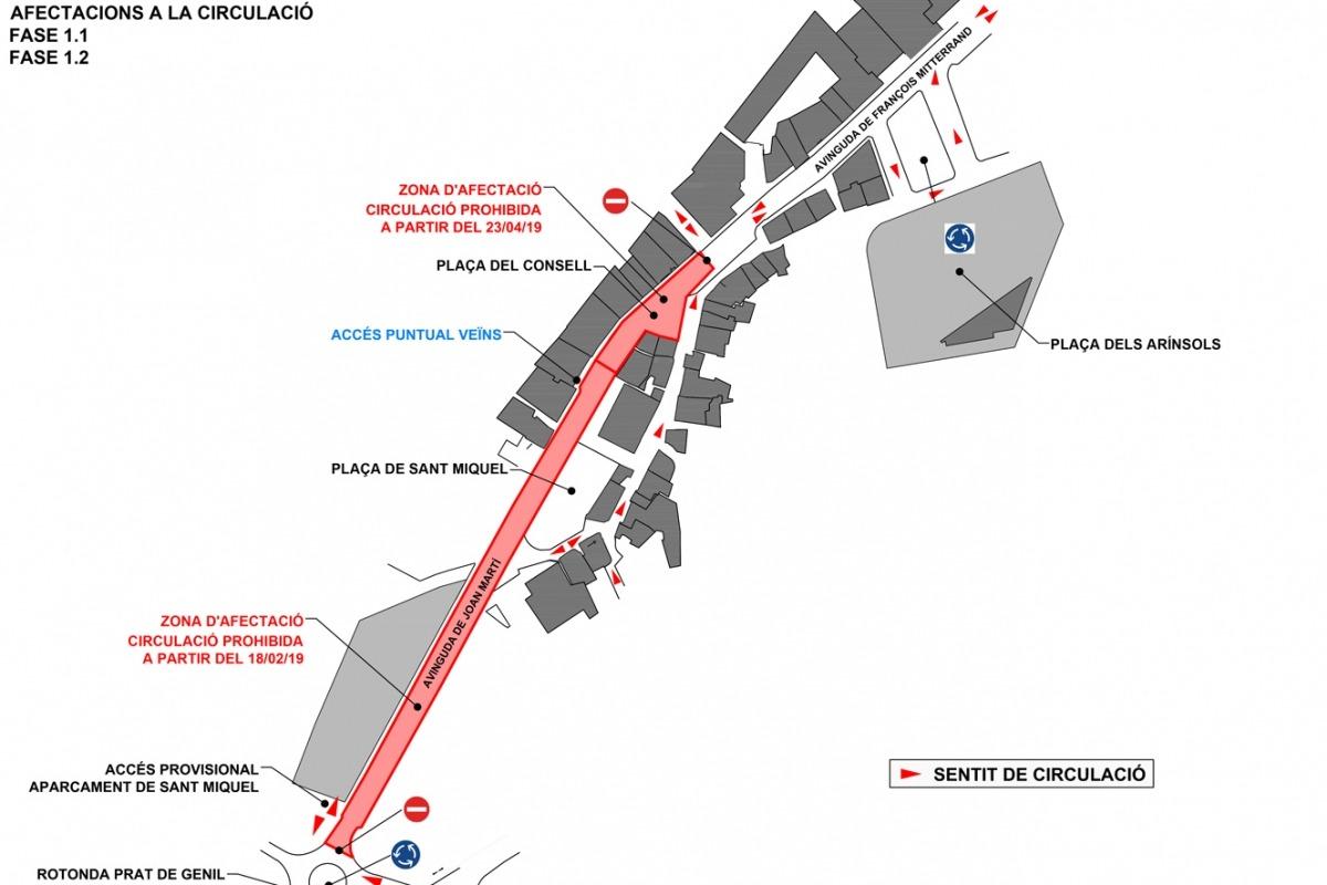Mapa de les afectacions a les avingudes de Joan Martí i François Mitterrand.