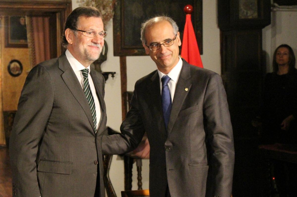 Un moment de la trobada de l'excap de Govern Antoni Martí amb l'expresident espanyol Mariano Rajoy, en la visita d'aquest darrer a Andorra.