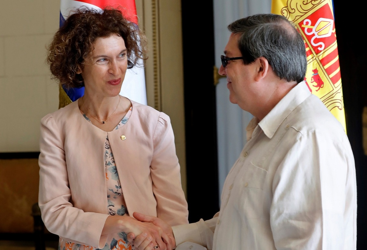 Maria Ubach i Bruno Rodríguez, aquest dimecres a l'Havana.