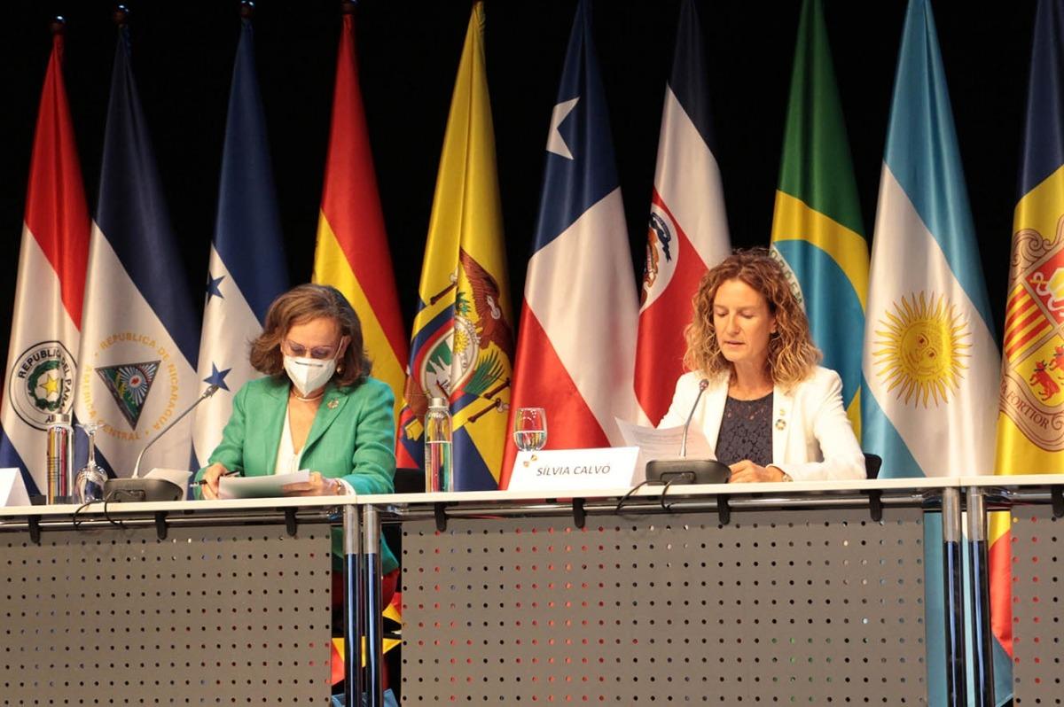 La ministra de Medi Ambient, Agricultura i Sostenibilitat, Sílvia Calvó, durant la seva intervenció a la 10a Conferència Iberoamericana de ministres de Medi Ambient.