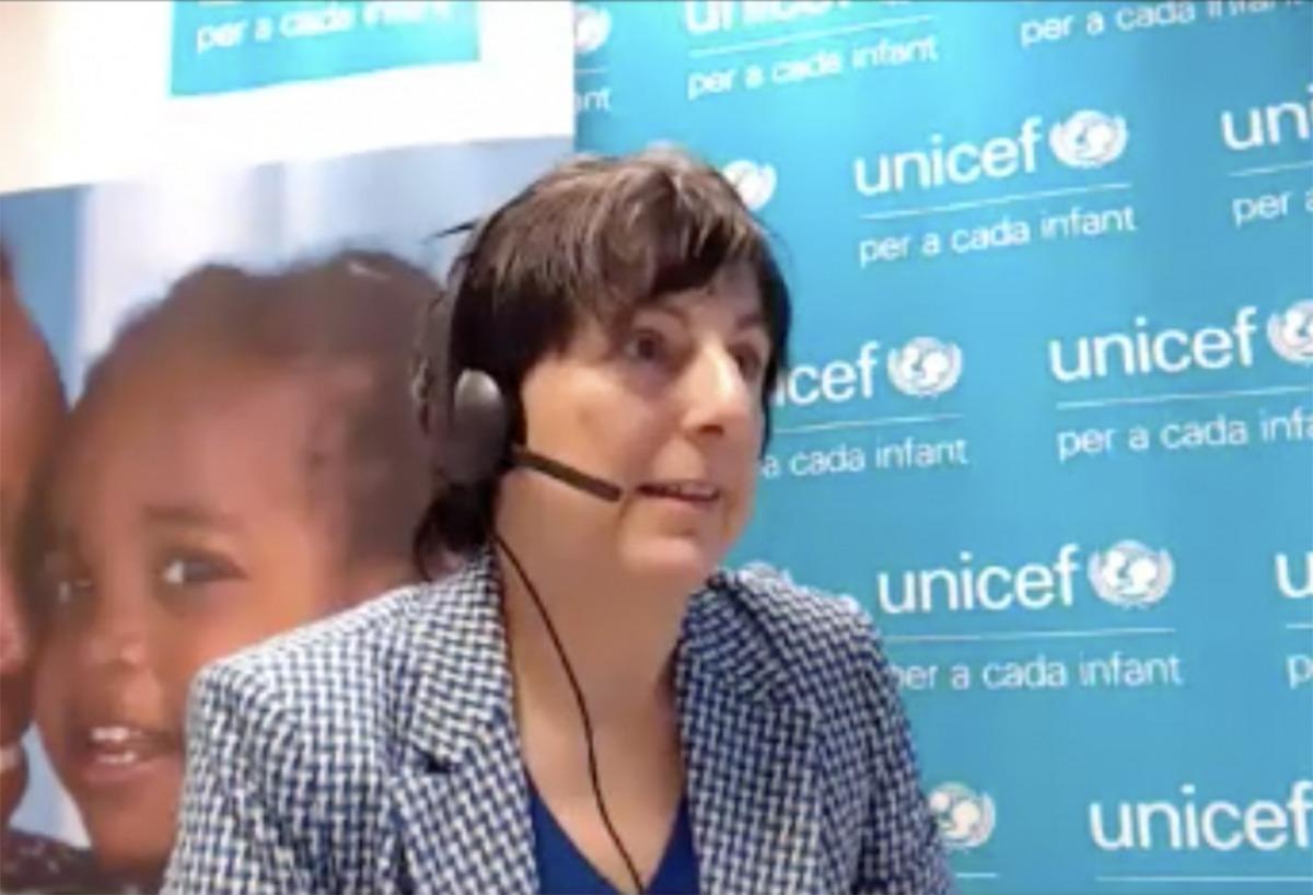La directora de l'Unicef, Marta Alberch, durant la roda de premsa telemàtica d'aquest matí.
