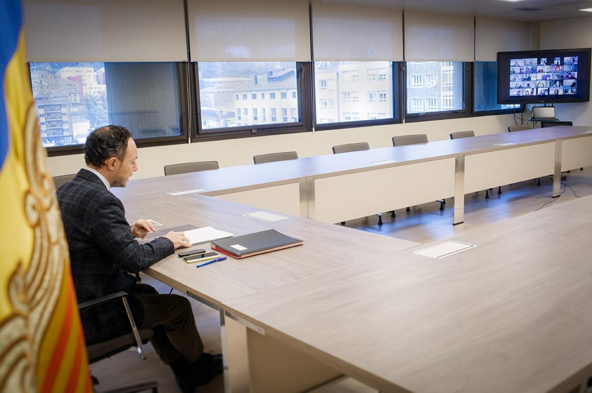 El cap de Govern, Xavier Espot, durant la reunió del Conadis.