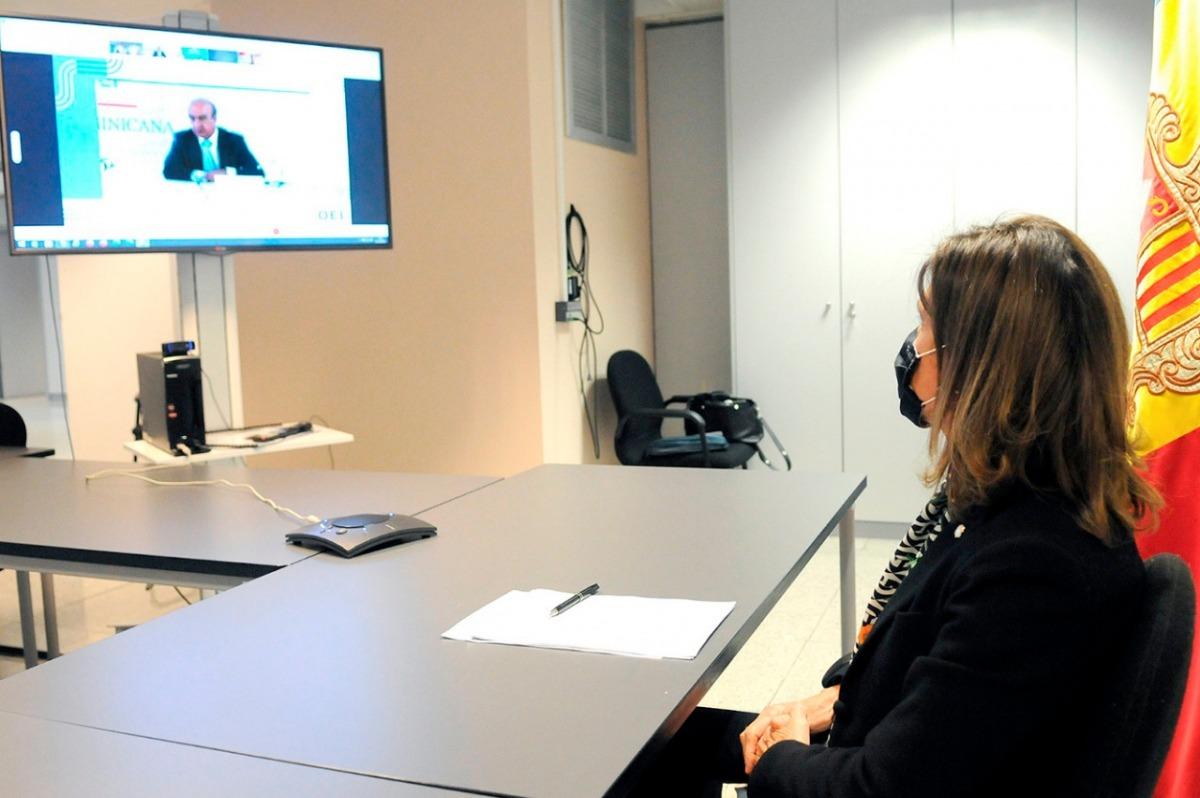 La ministra d'Educació i Ensenyament Superior, Ester Vilarrubla, durant la reunió.