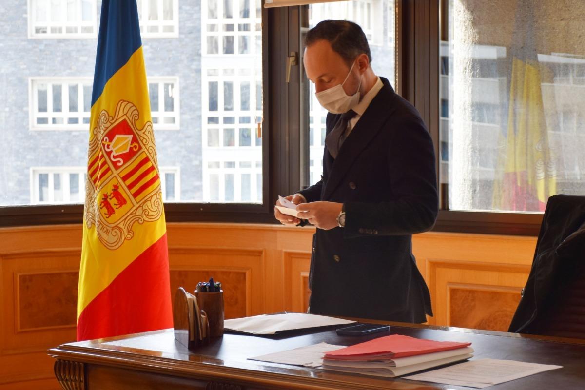 El cap de Govern, Xavier Espot, al seu despatx, aquest migdia.