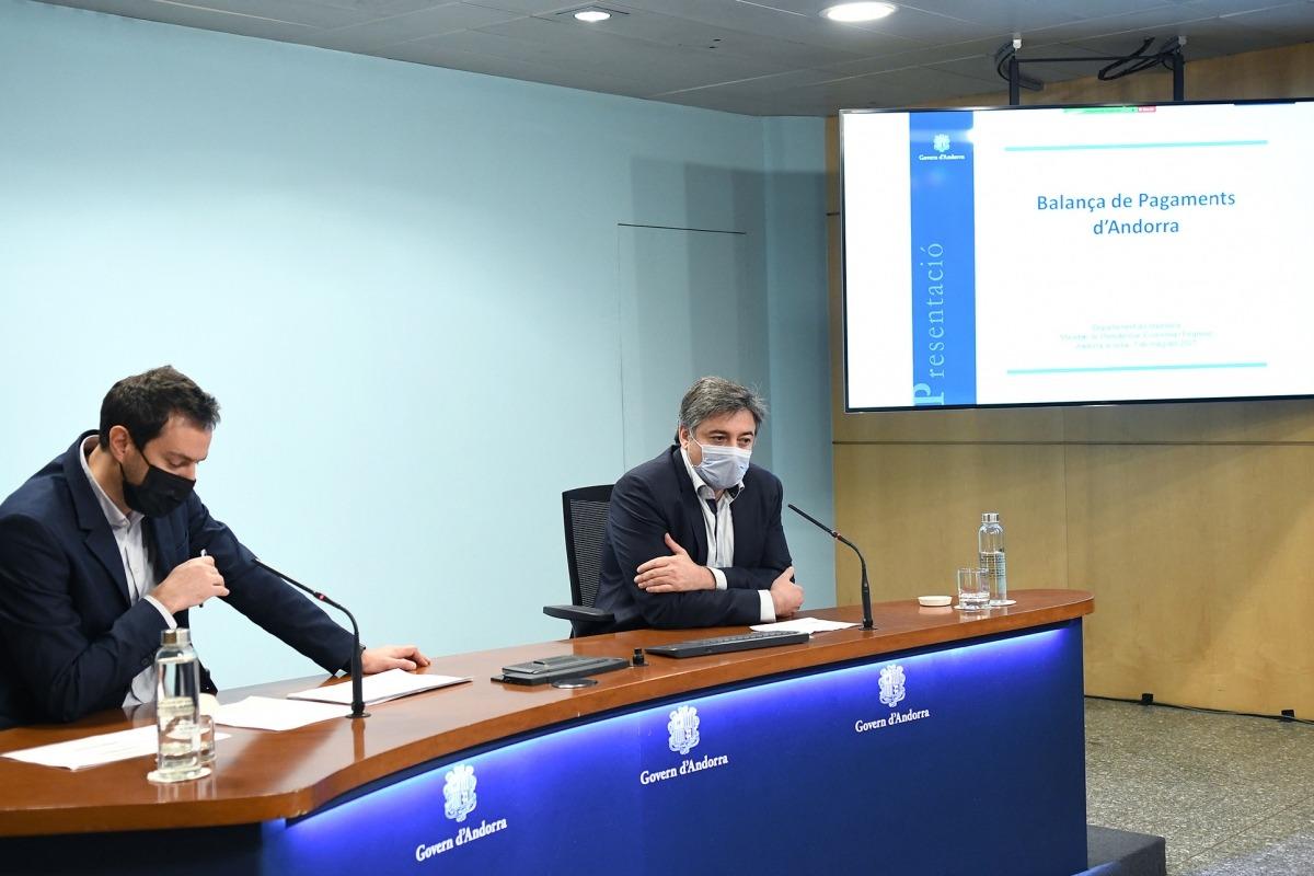 Marc Galabert i Joan Soler, durant la roda de premsa d'aquest matí.