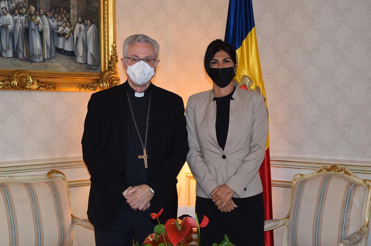 Vives i Montaner aquest matí al Palau episcopal de la Seu d'Urgell.