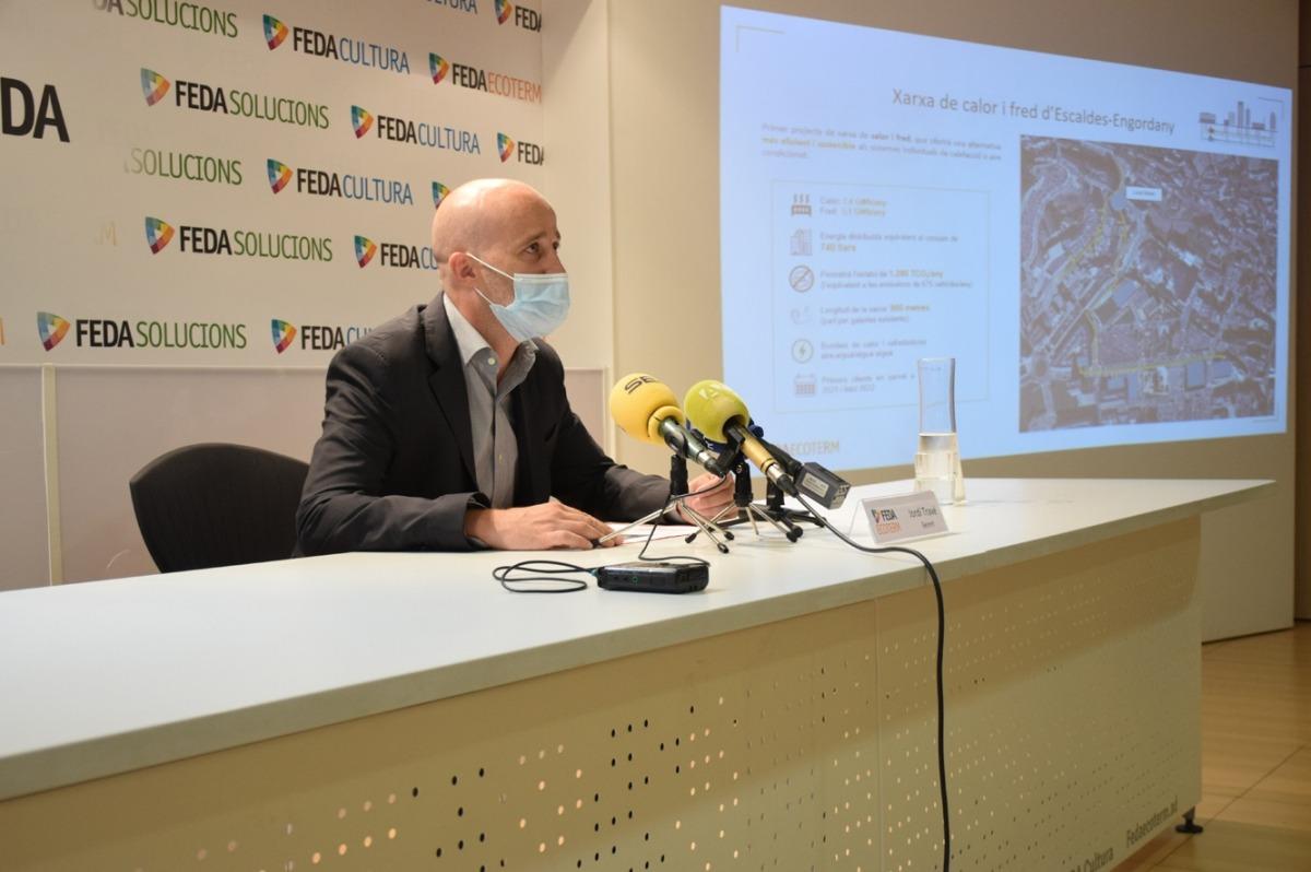El gerent de FEDA Ecoterm, Jordi Travé, durant la presentació de la xarxa de calor i fred a Escaldes-Engordany.