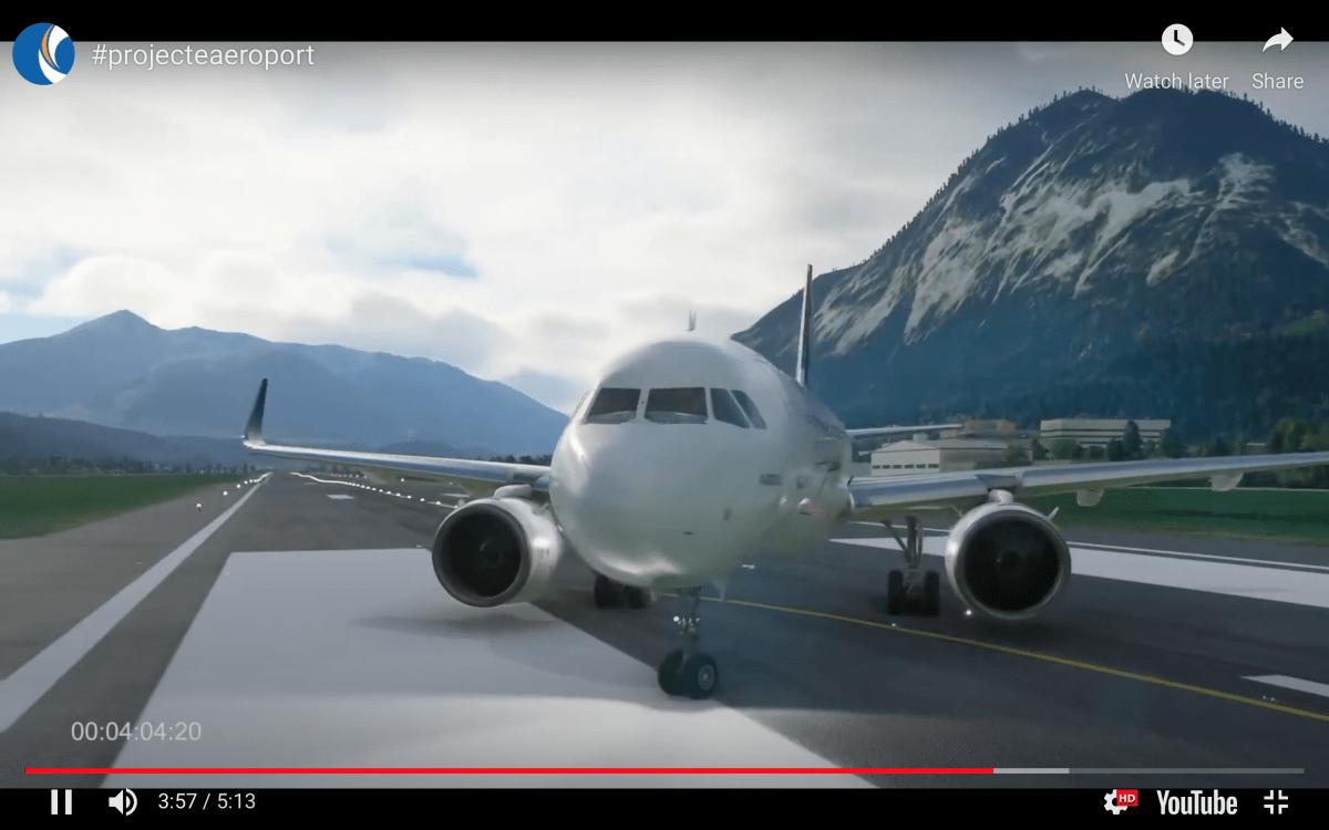 Simulació d'un avió a la pista de l'aeroport de Grau Roig.
