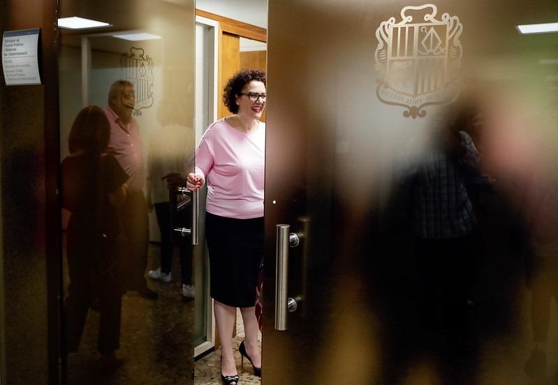 La ministra de Funció Pública, Judith Pallarés, en una reunió anterior amb els representants sindicals.