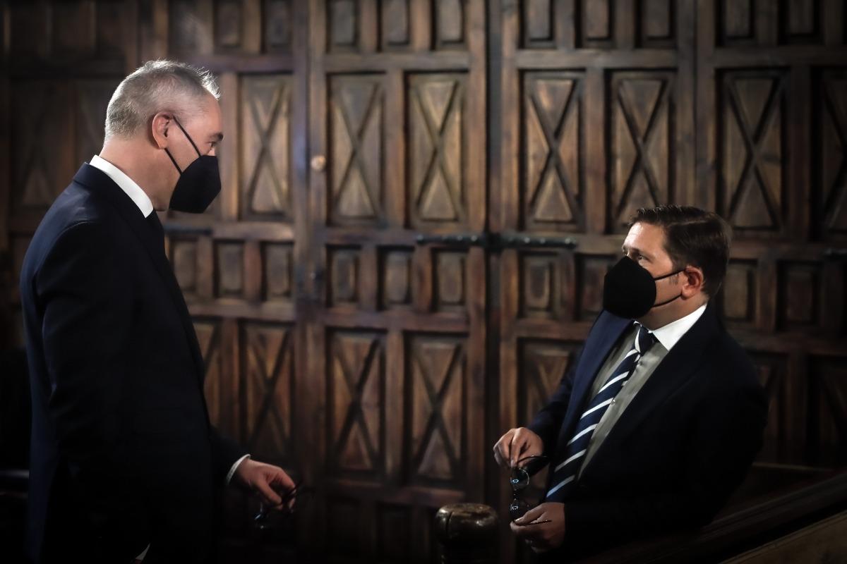 Jordi Sunyer i Jordi París a la Casa de la Vall aquest matí.