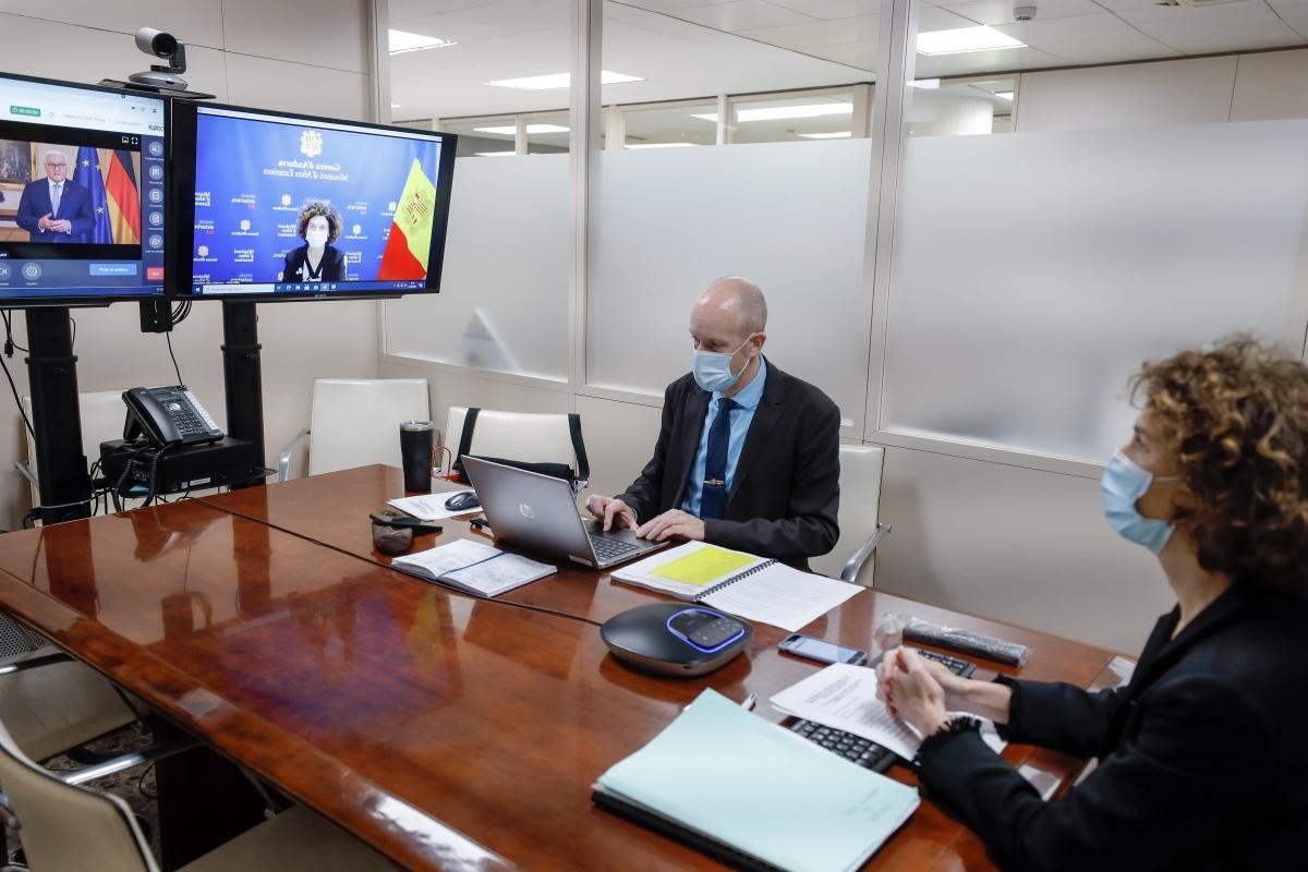 Ubach durant la sessió que s'ha fet telemàticament.