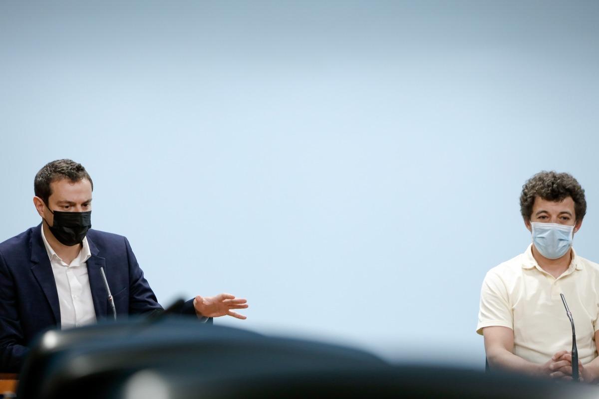 Marc Galabert i Marc Font en la roda de premsa d'aquest matí.
