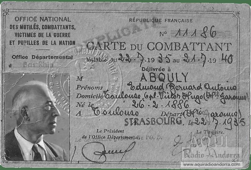 Abouly va participar en la I Guerra Mundial i en acabar el conflicte va se destinat a la zona d'ocupació francesa a Renània.