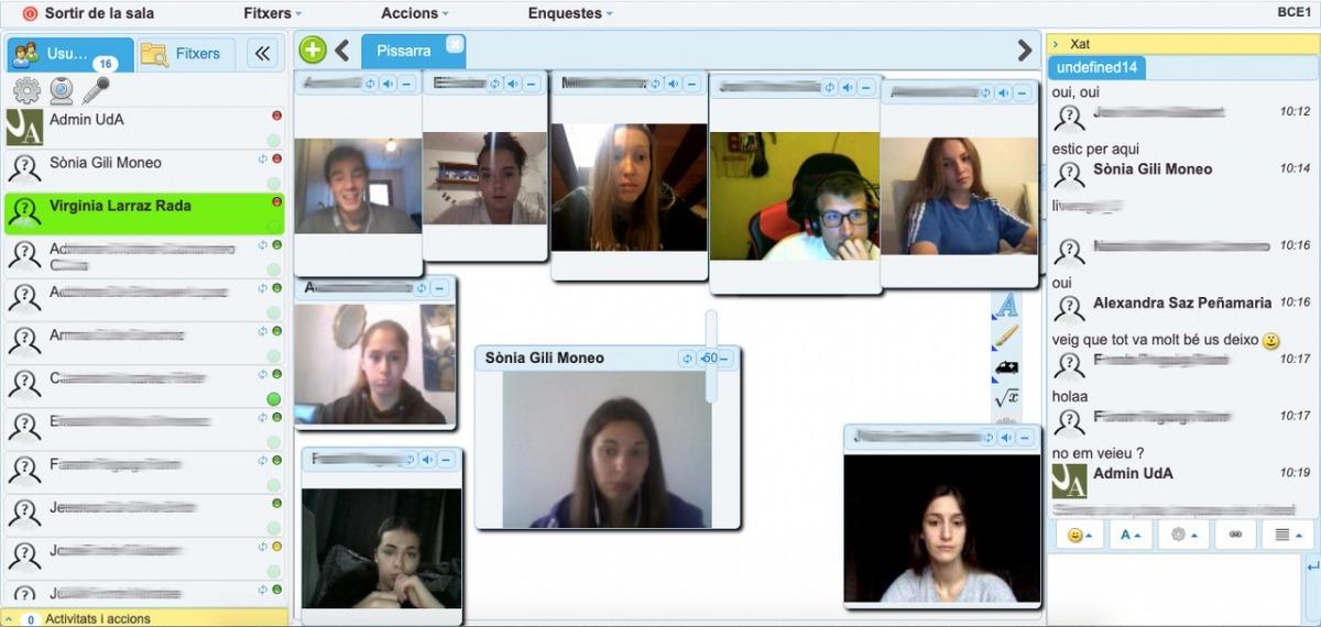 Captura de l'aula virtual del primer curs del bàtxelor en Ciències de l'educació.