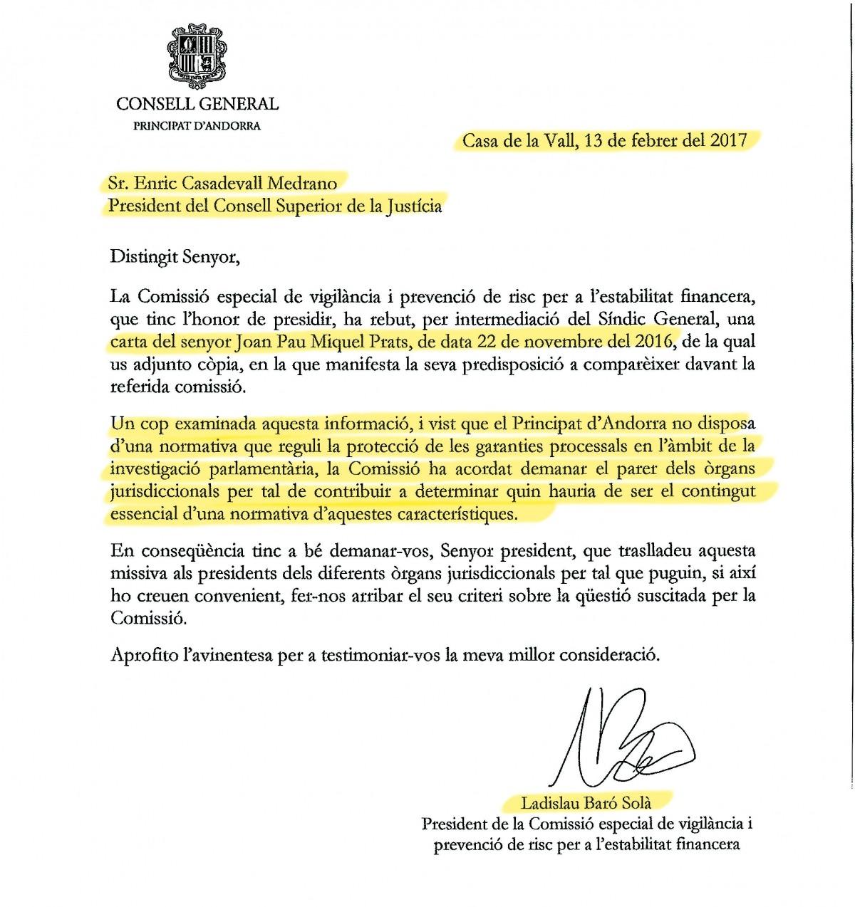 Baró envia ara la consulta al CSJ sobre la compareixença de Miquel