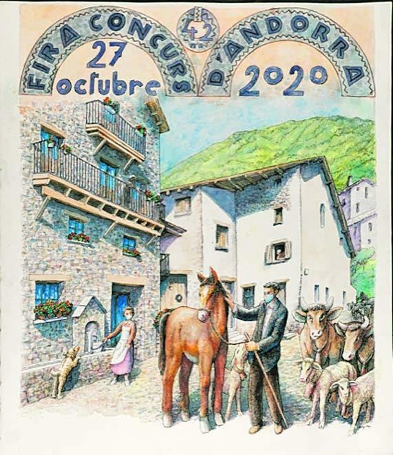 El cartell de la fira concurs de bestiar que havia d'haver tingut lloc dimarts, ambientat a la placeta d'Anyós.