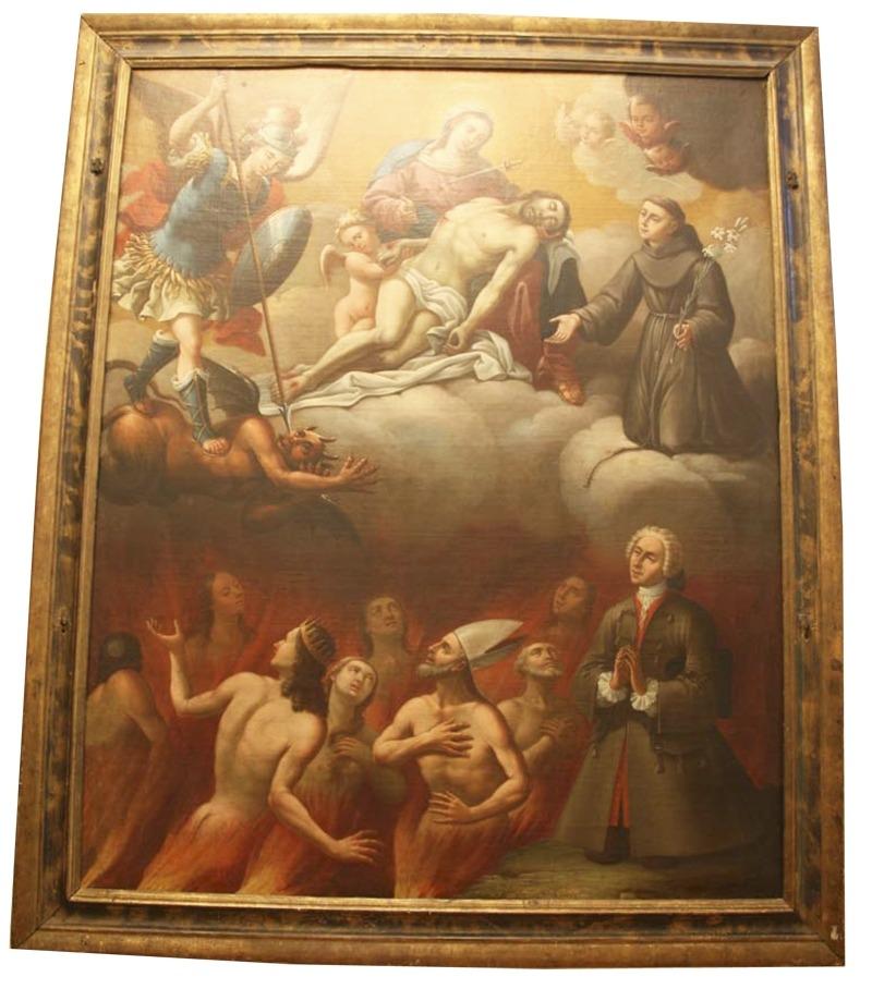 El 'Quadre de les Ànimes', de Joan Casanovas, obra mestra del barroc nacional que es conserva a la sagristia de Sant Esteve i que es podrà visitar amb ocasió de les Jornades Europees de Patrimoni.