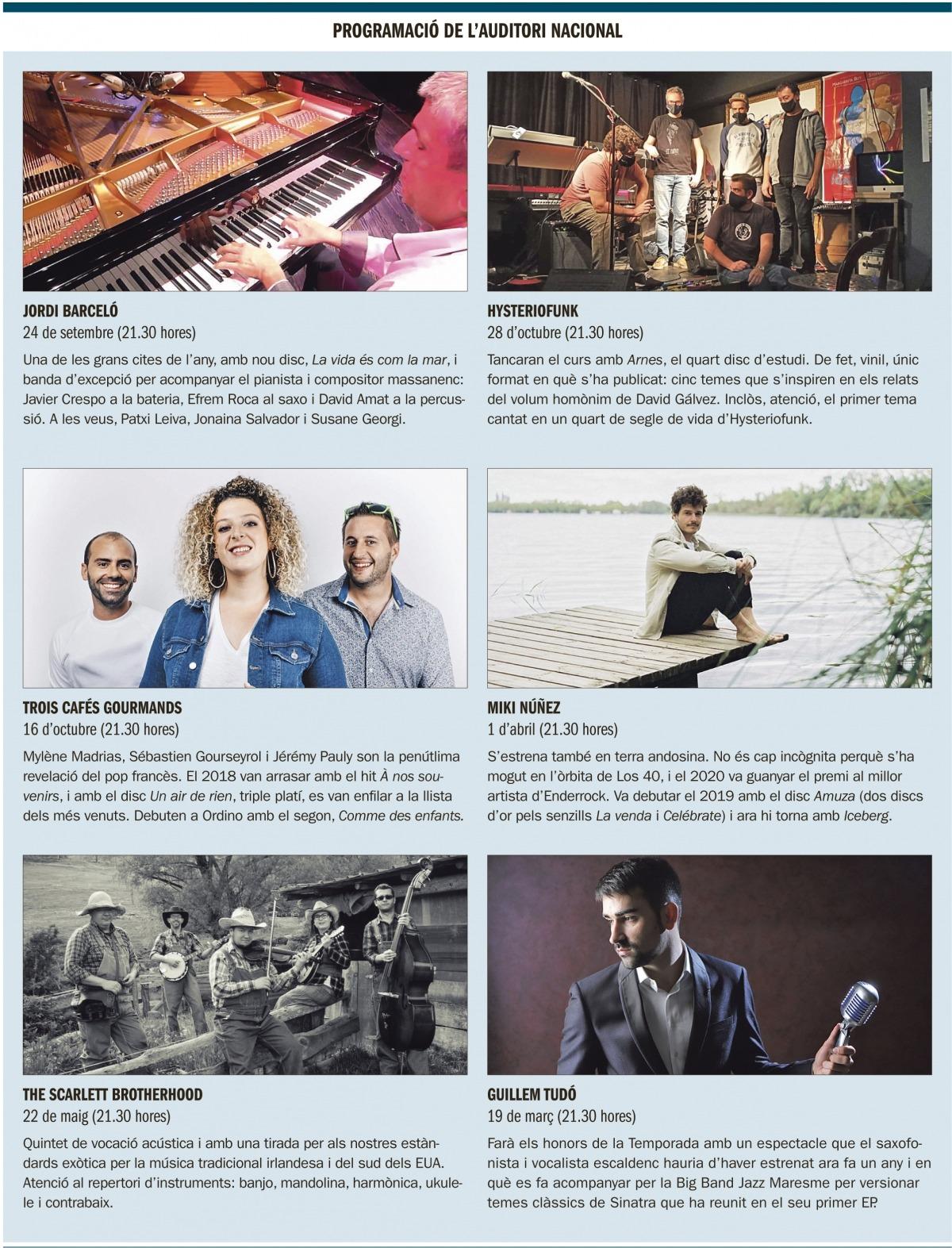 Cartell dels concerts a l'Auditori Nacional