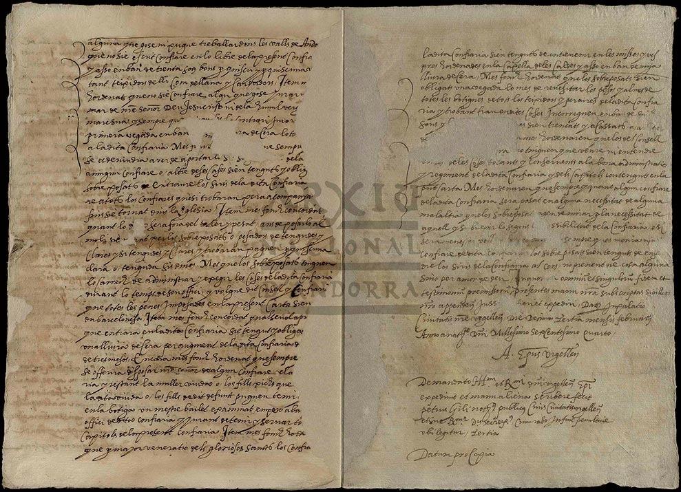 L'escriptura va ser firmada pel bisbe Andreu Capella el 13 de febrer del 1604.